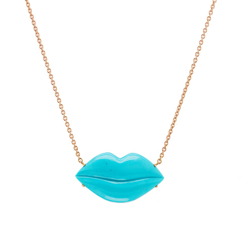 Turquoise Lips Necklace - Christina Alexiou - Necklace | Broken English Jewelry
