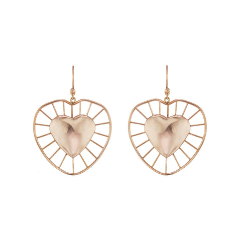 Radial Heart Drop Earrings - Christina Alexiou - Earrings | Broken English Jewelry