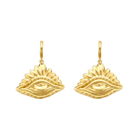 Evil Eye Huggies - Christina Alexiou - Earrings | Broken English Jewelry