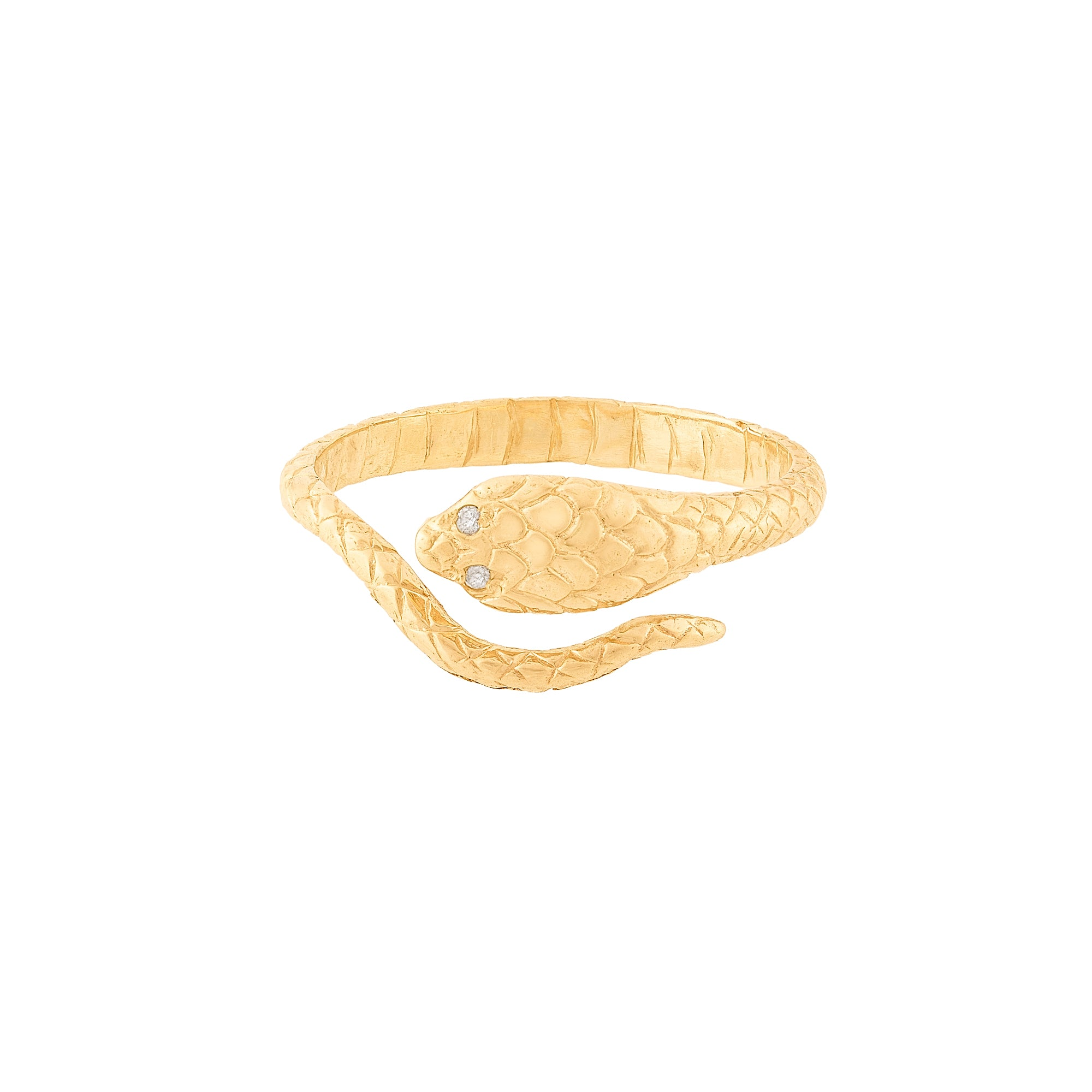 Gold & White Diamond Cobra Ring by Celine Doust for Broken English Jewelry