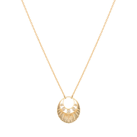 Sun & Diamonds Open Moon Medal Necklace by Celine Daoust for Broken English Jewelry