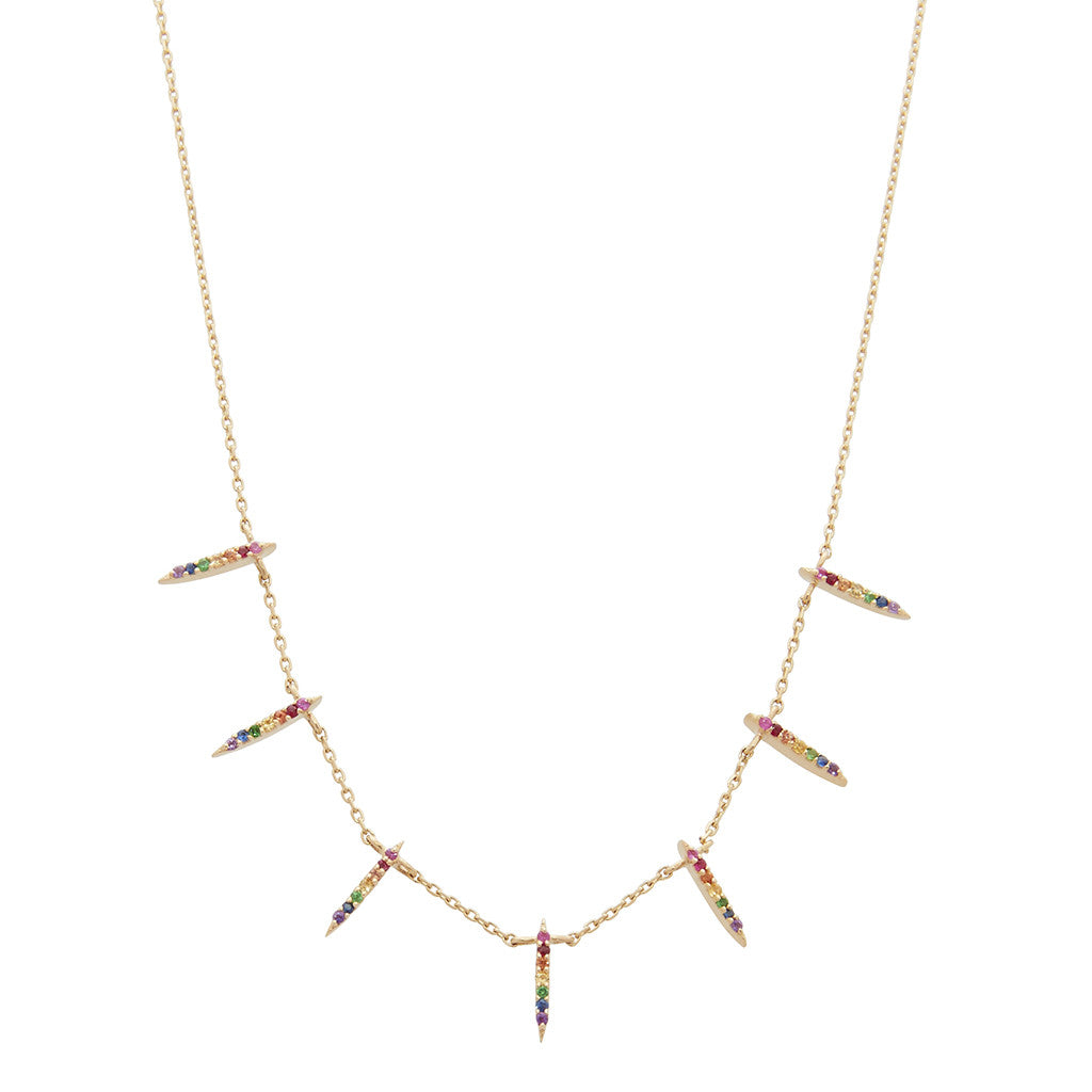 Gold & Sapphire Sunbeam Necklace by Celine Doust for Broken English Jewelry