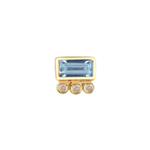 Aquamarine Baguette Stud by Celine Daoust for Broken English Jewelry