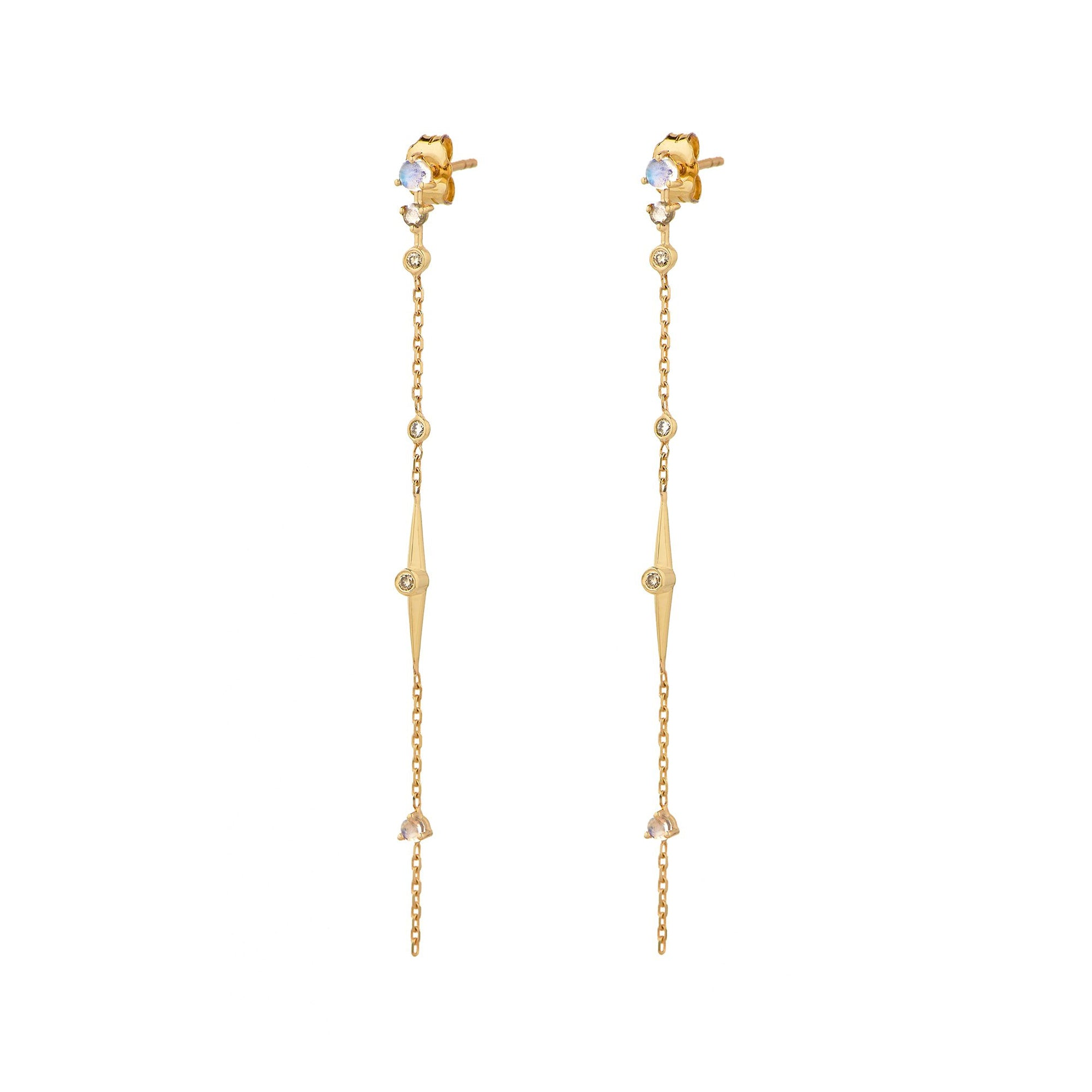 Moonstone & Diamonds Long Chain Earrings by Celine Daoust for Broken English Jewelry