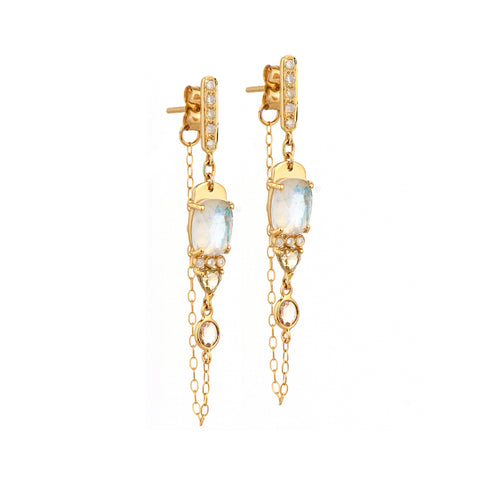 Moonstone Chain Earrings - Celine Daoust - Earrings | Broken English Jewelry
