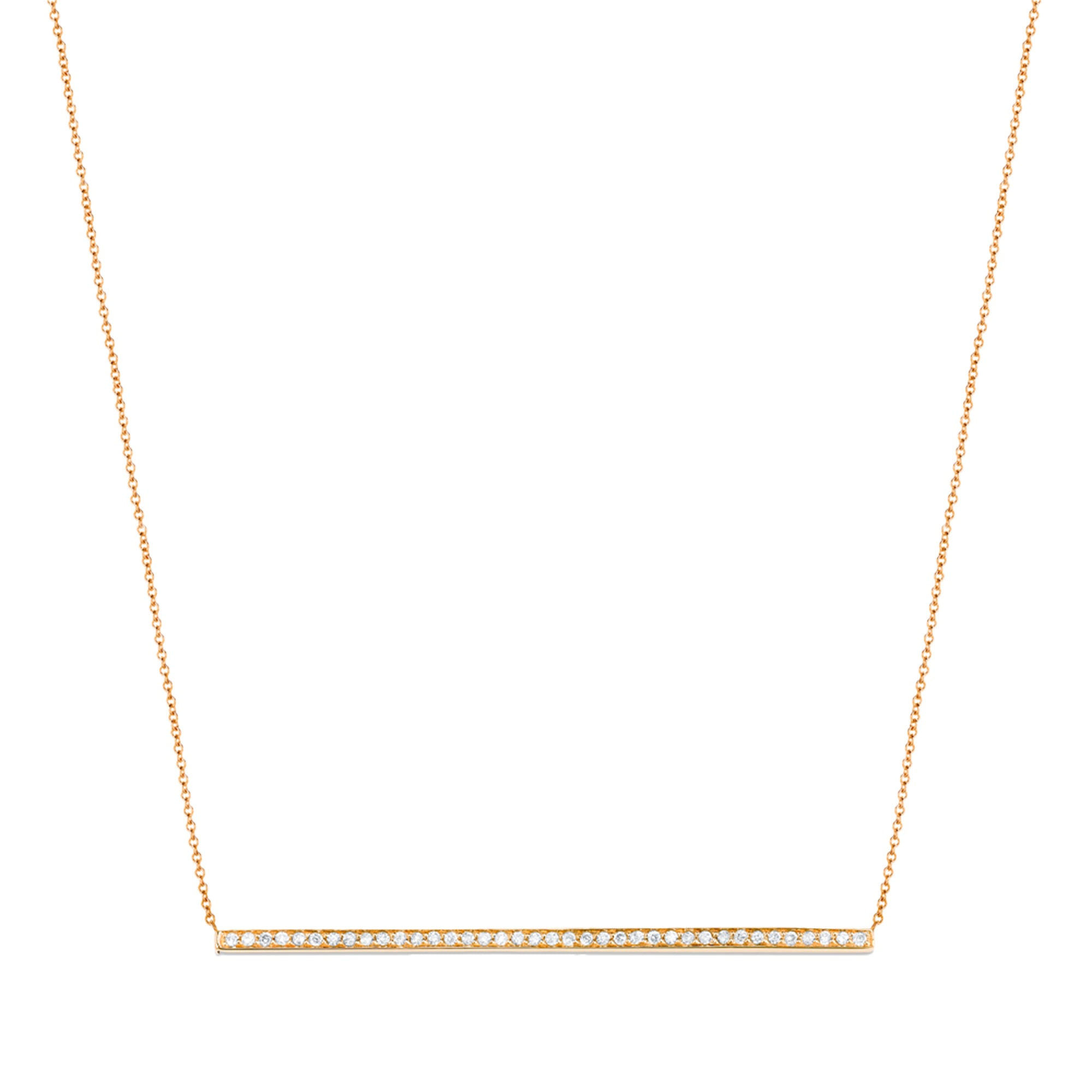 Gold & White Diamond Side Bar Necklace by Carbon & Hyde for Broken English Jewelry