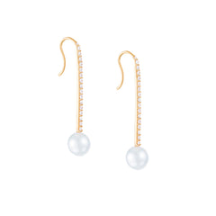 Gold & White Diamond Pearl Stick Earrings by Carbon & Hyde for Broken English Jewelry