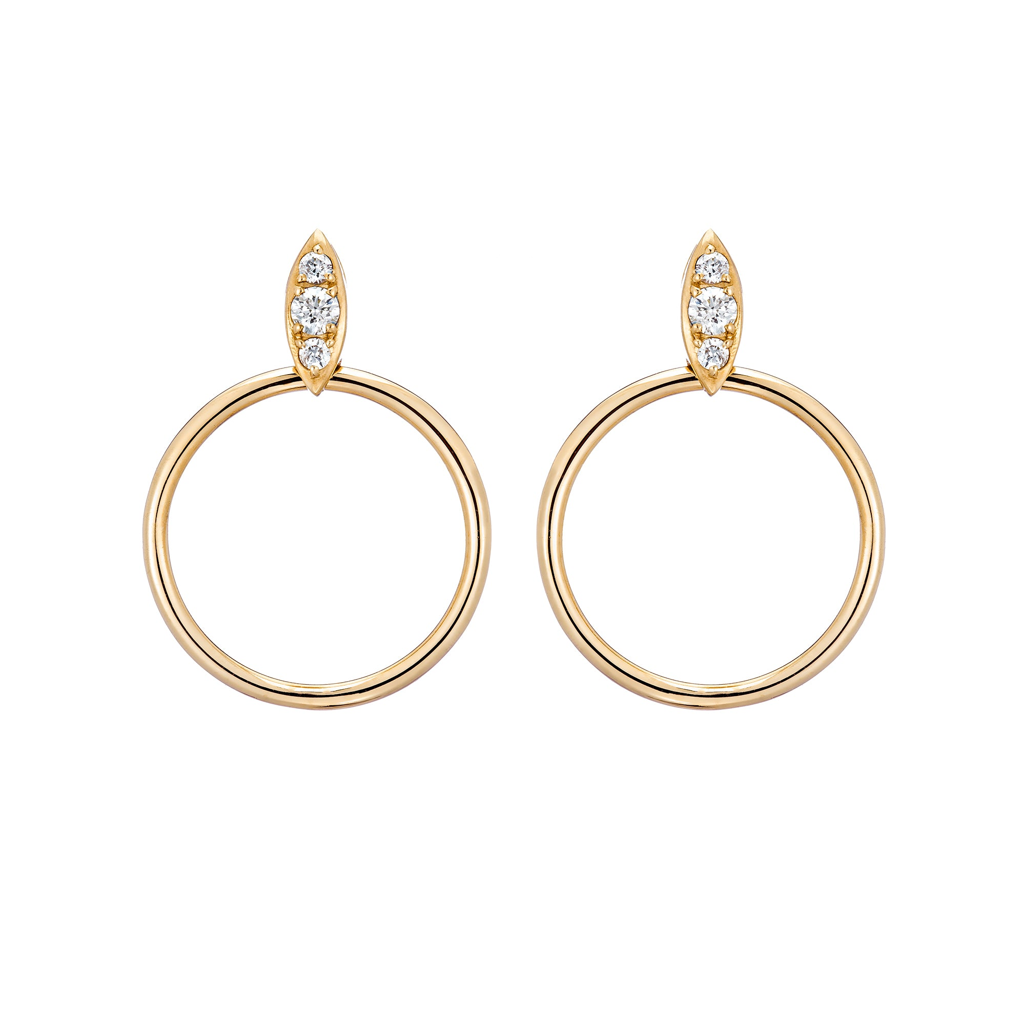 Gold & White Diamond Lucienne Hoops by Carbon & Hyde for Broken English Jewelry