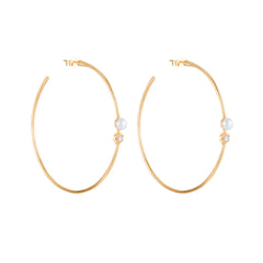 Gold White Diamond & Pearl Rosette Hoops by Carbon & Hyde for Broken English Jewelry