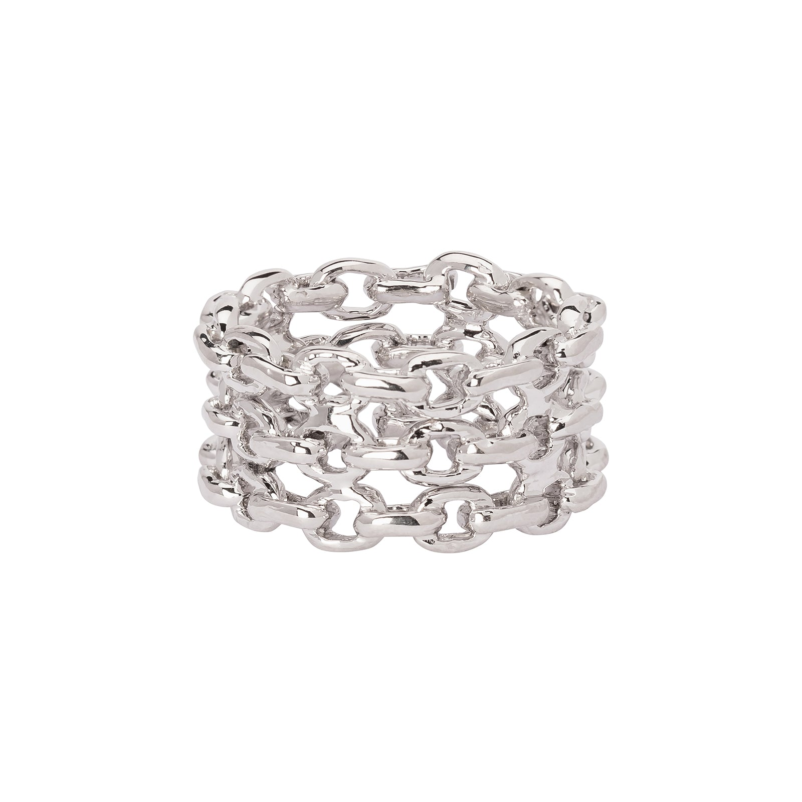 Patcharavipa Chain Three Row Ring - White Gold - Rings - Broken English Jewelry