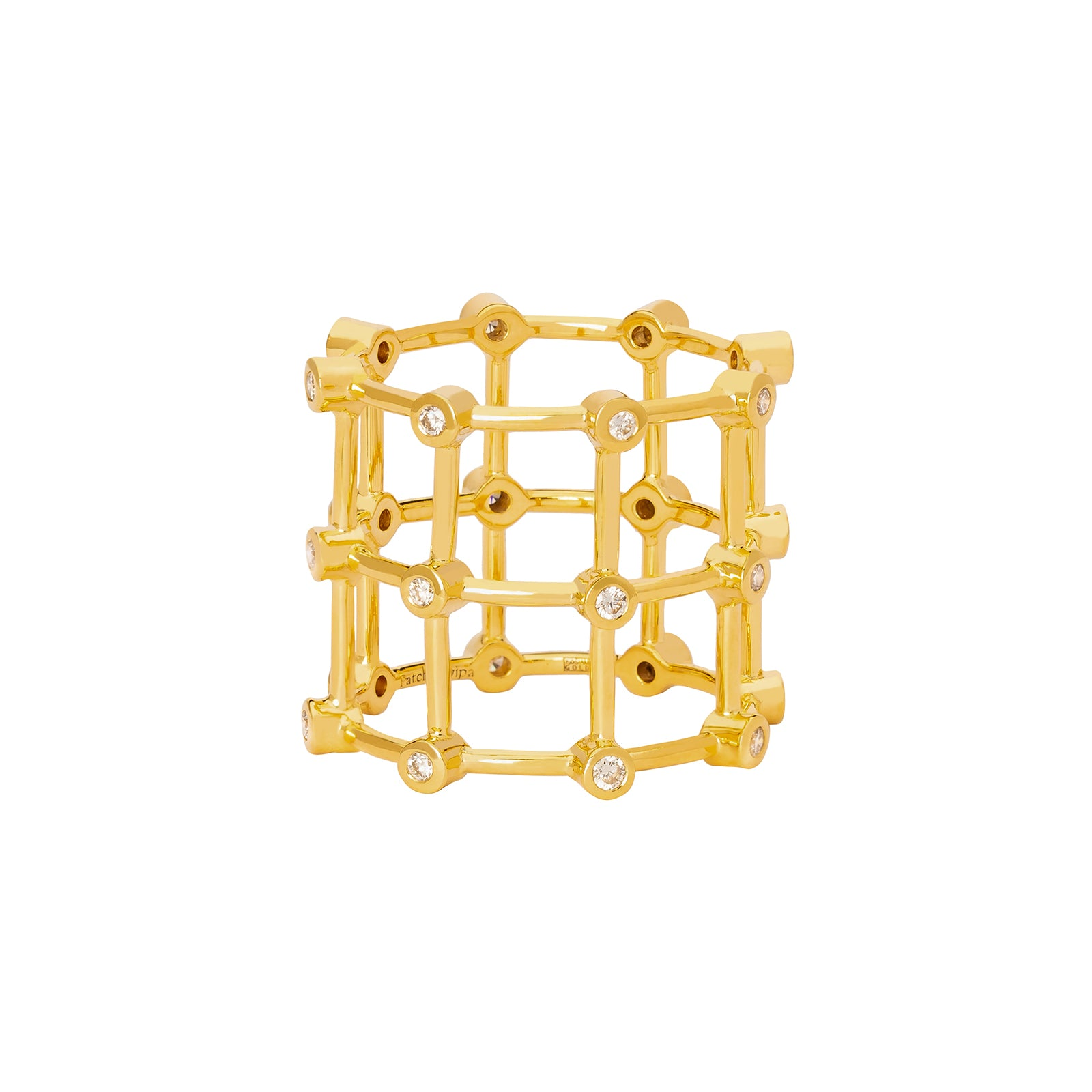 Patcharavipa Diamond Cage Ring - Yellow Gold - Rings - Broken English Jewelry