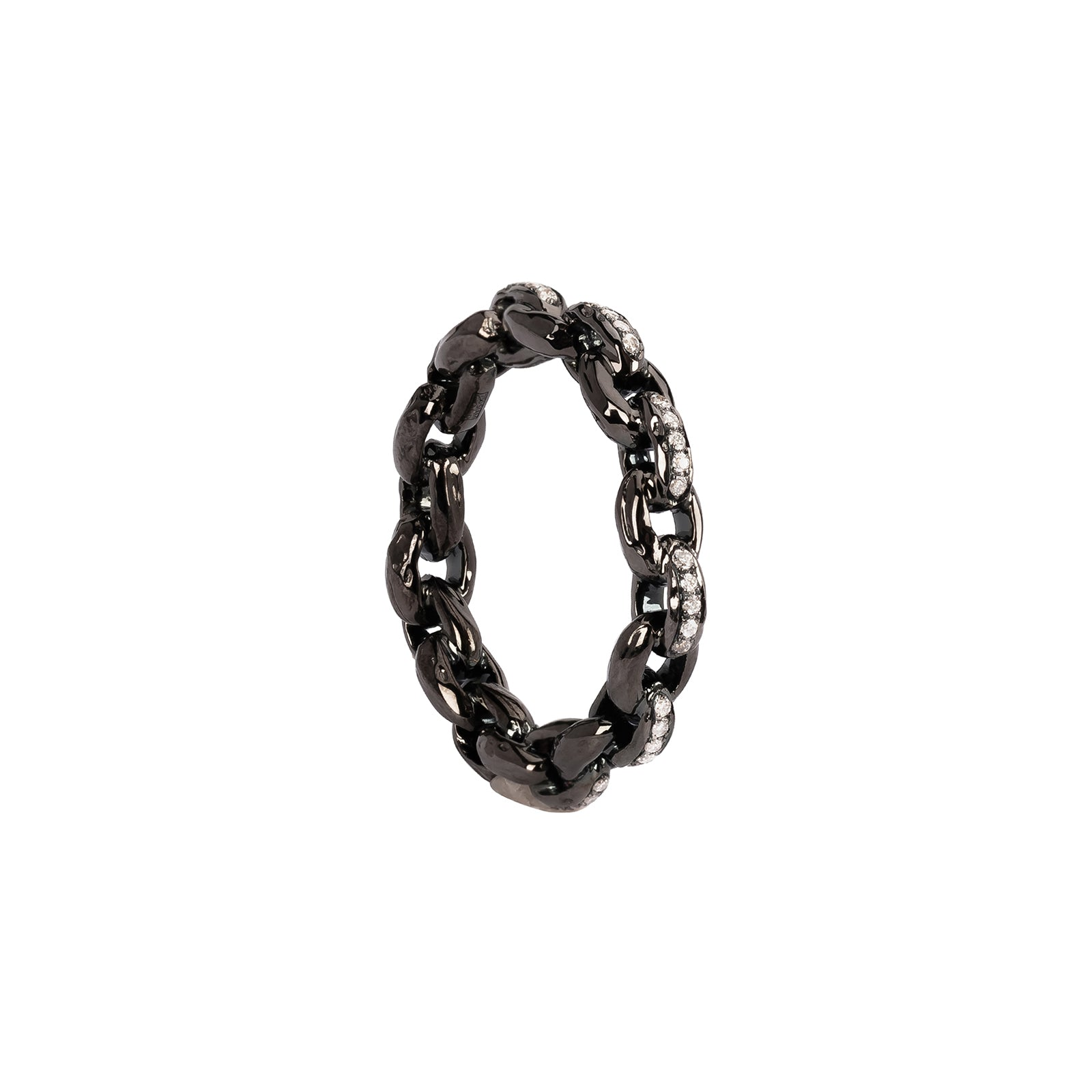 Patcharavipa Diamond Chain Row Ring - Black Gold - Rings - Broken English Jewelry