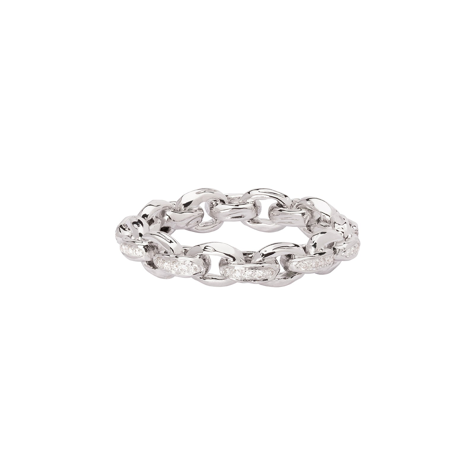 Patcharavipa Diamond Chain Row Ring - White Gold - Rings - Broken English Jewelry