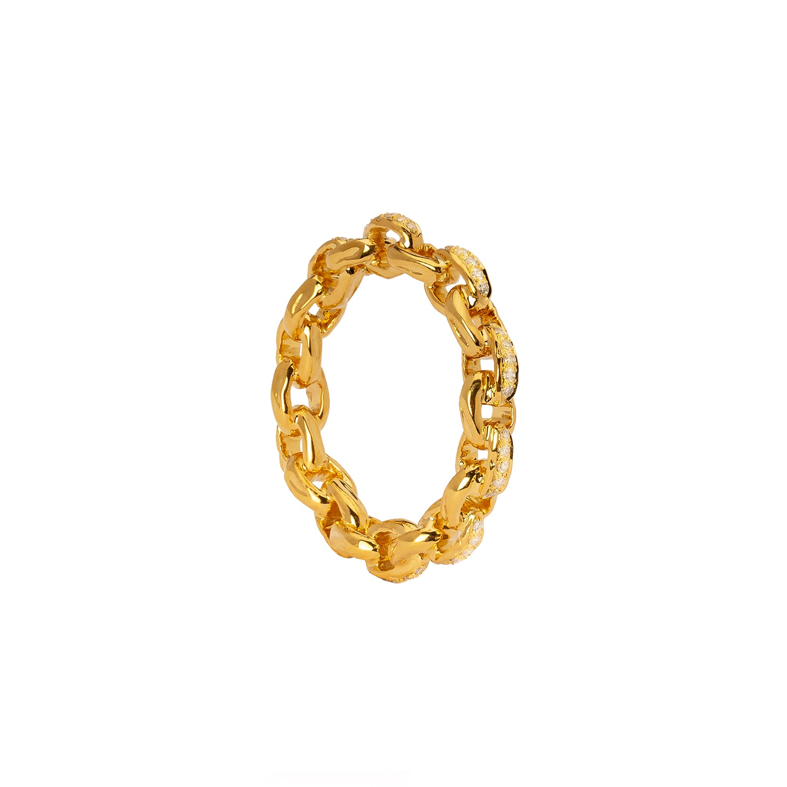 Patcharavipa Diamond Chain Row Ring - Yellow Gold - Rings - Broken English Jewelry