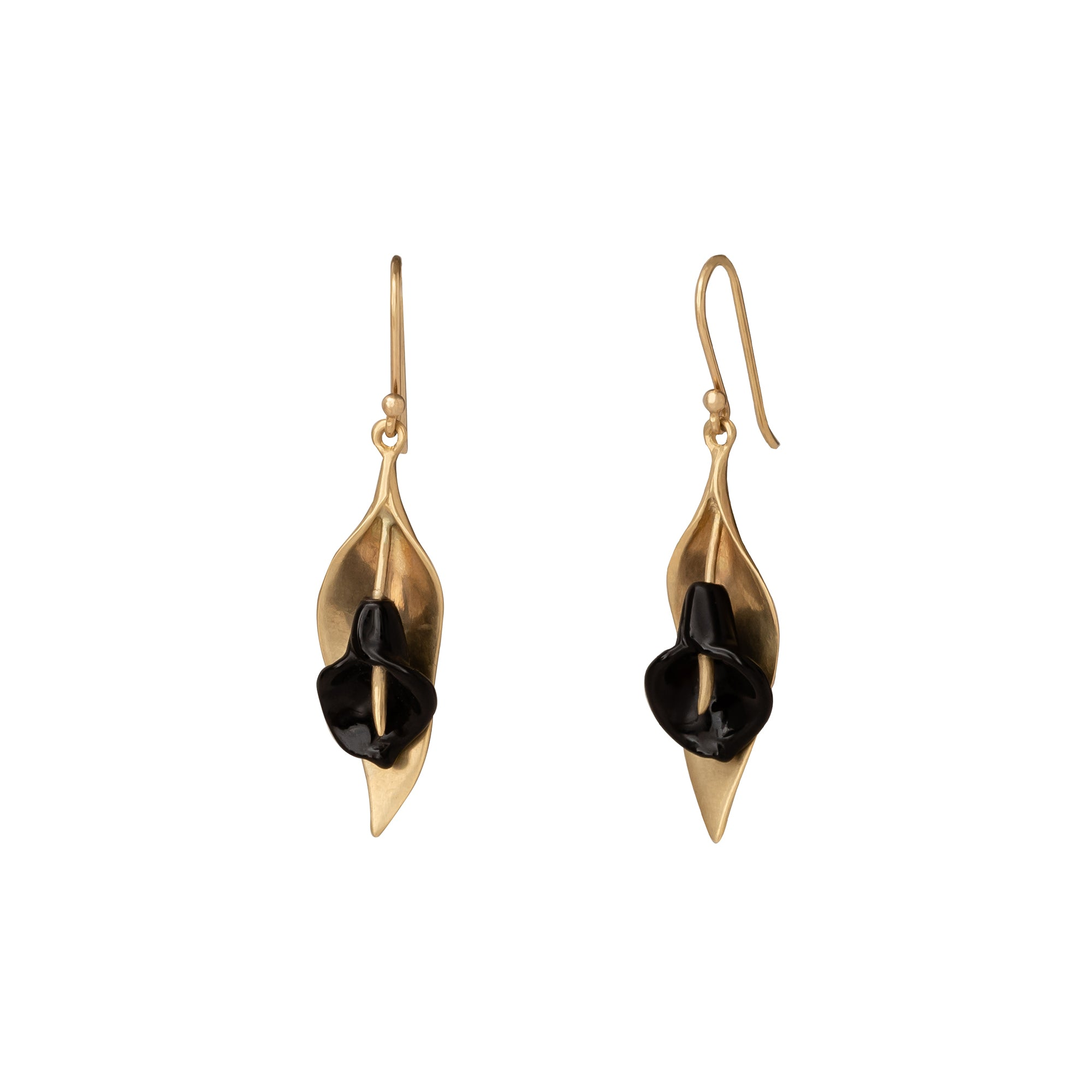 Small Cala Lilly Black Onyx Earrings - Annette Ferdinansen - Earrings | Broken English Jewelry