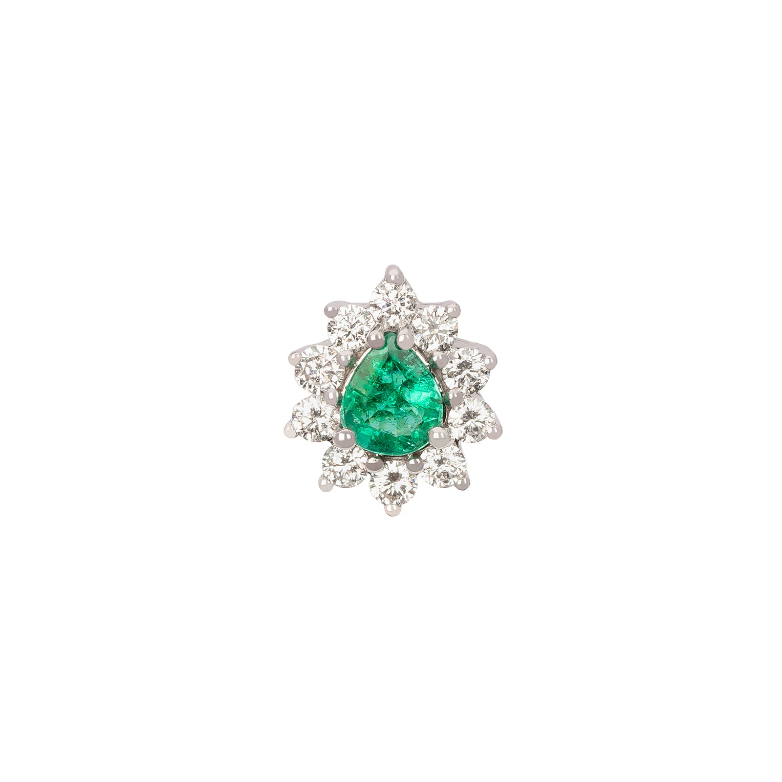 Rosa de la Cruz Emerald & Diamond Teardrop Stud - Earrings - Broken English Jewelry