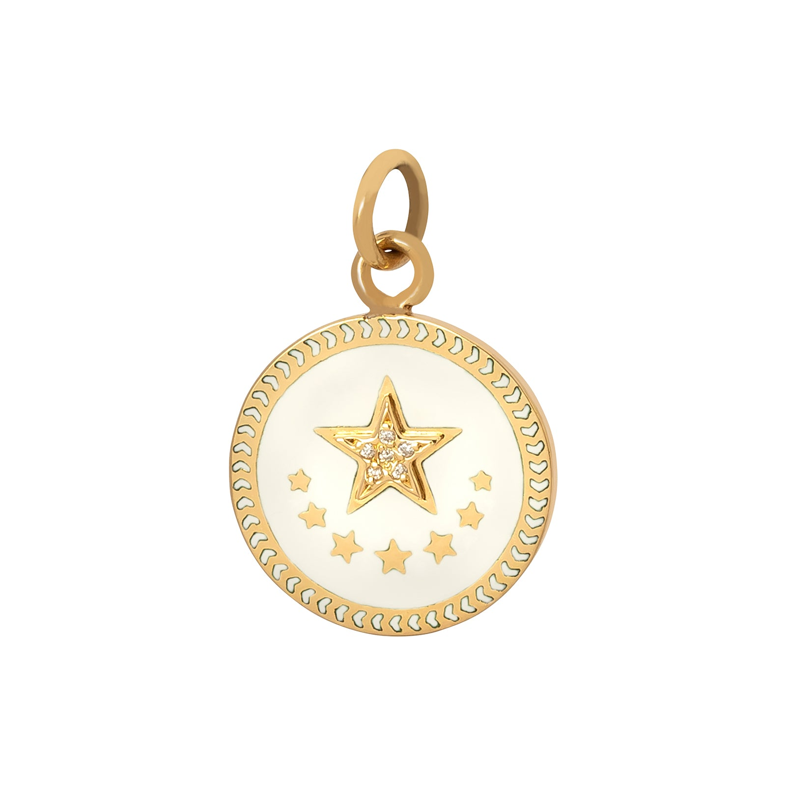 Foundrae Petite Champlevé Star Medallion - White - Charms & Pendants - Broken English Jewelry