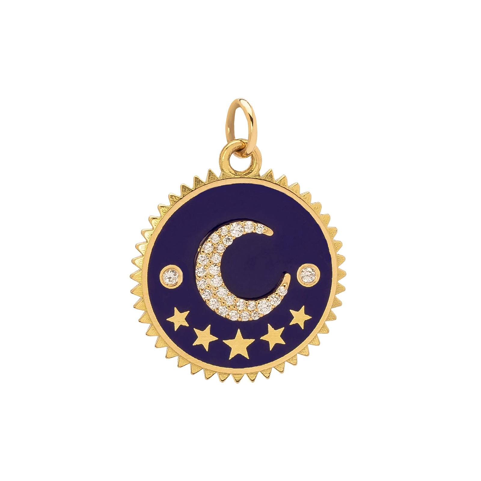 Foundrae Crescent Blue Medallion - 20mm - Charms & Pendants - Broken English Jewelry