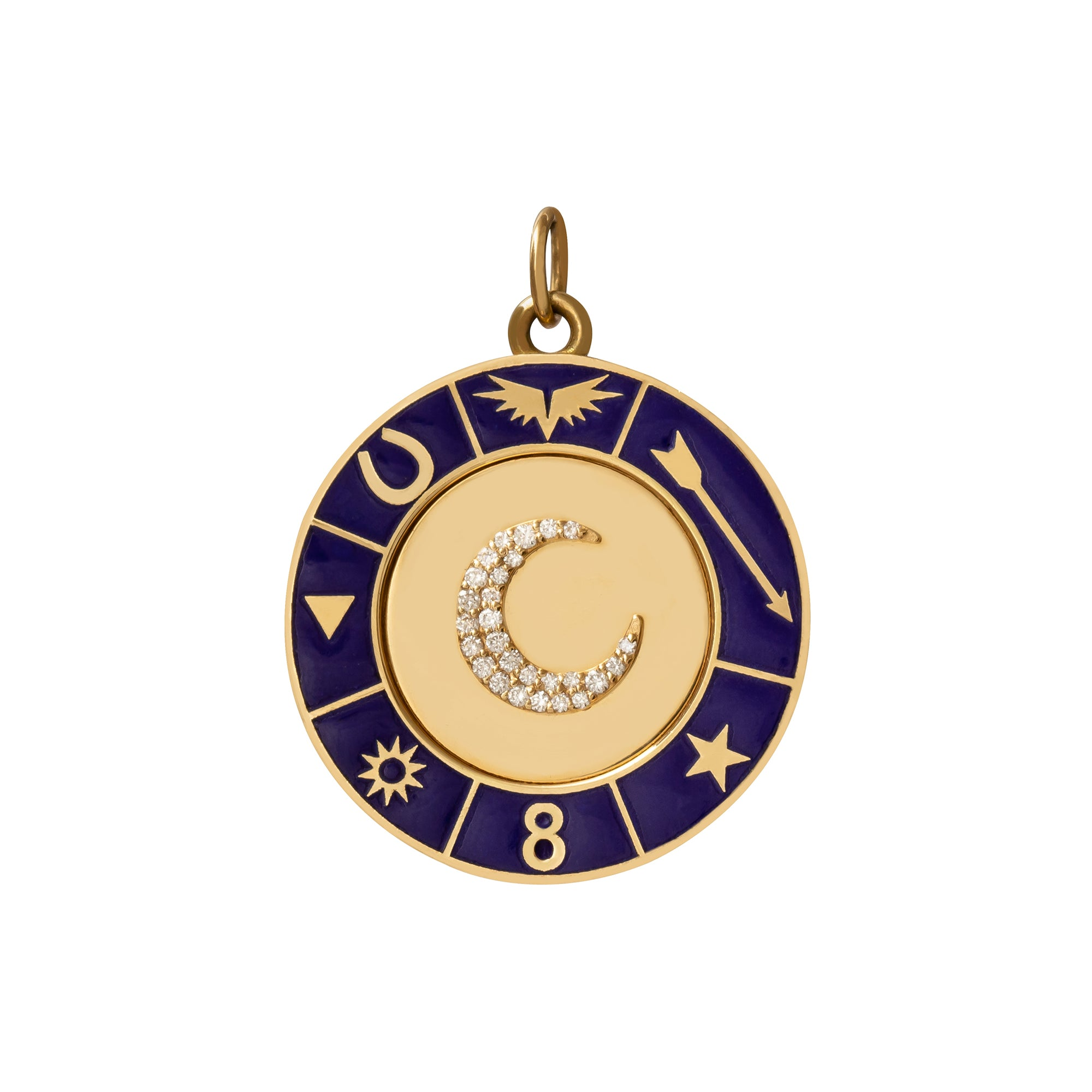 Blue Crescent Medallion - Foundrae - Charms & Pendants | Broken English Jewelry