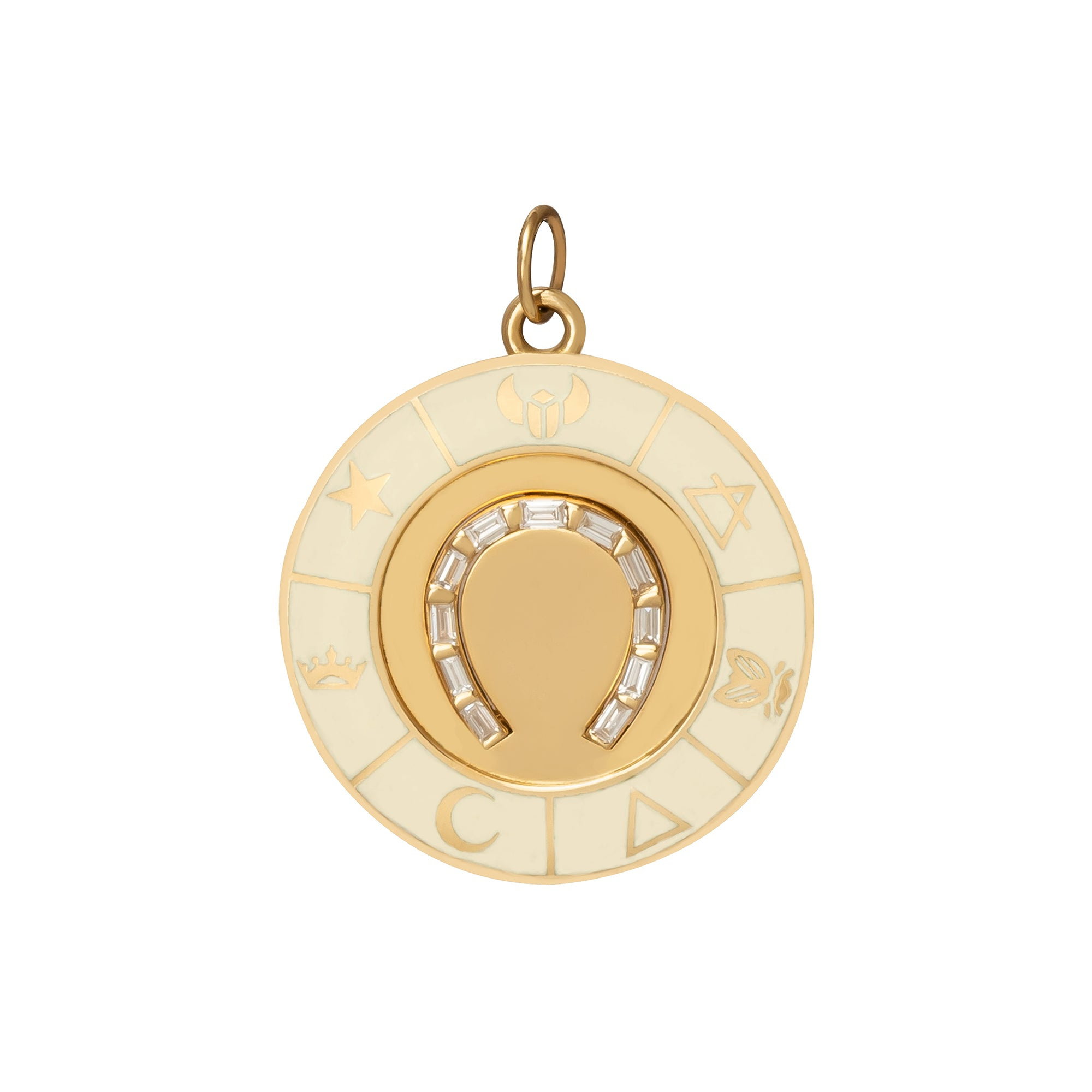 Large Cream Horseshoe Medallion - Foundrae - Charms & Pendants | Broken English Jewelry