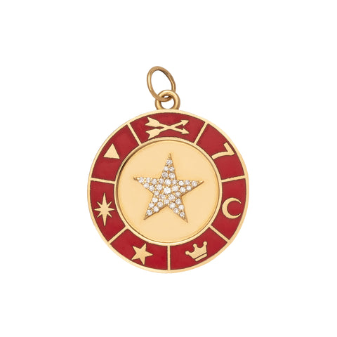 Large Red Enamel Star Medallion - Foundrae - Charms & Pendants | Broken English Jewelry
