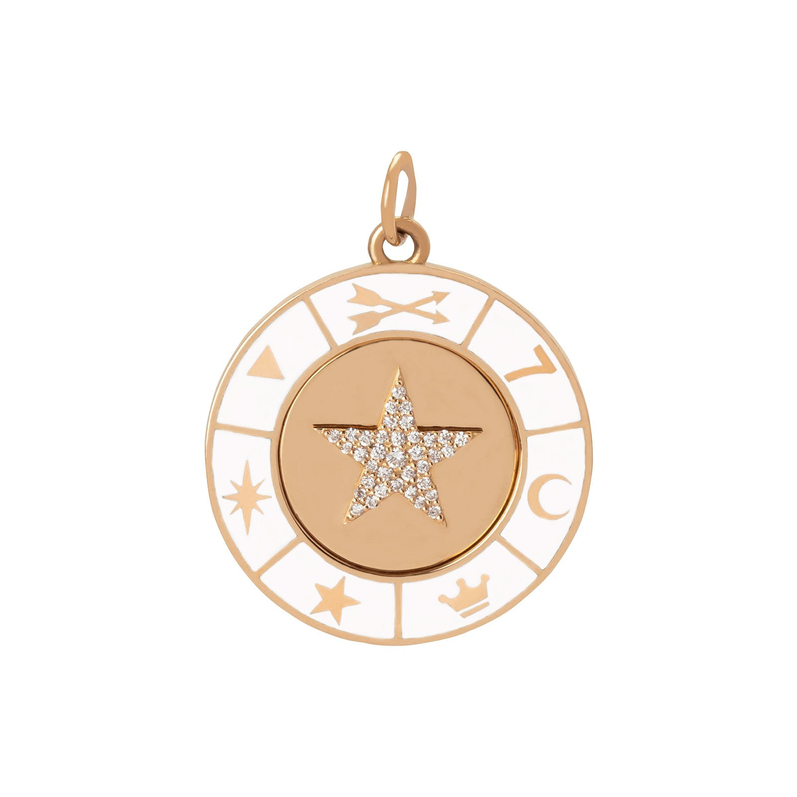 Foundrae Star Symbol Wheel Medallion - White - Charms & Pendants - Broken English Jewelry