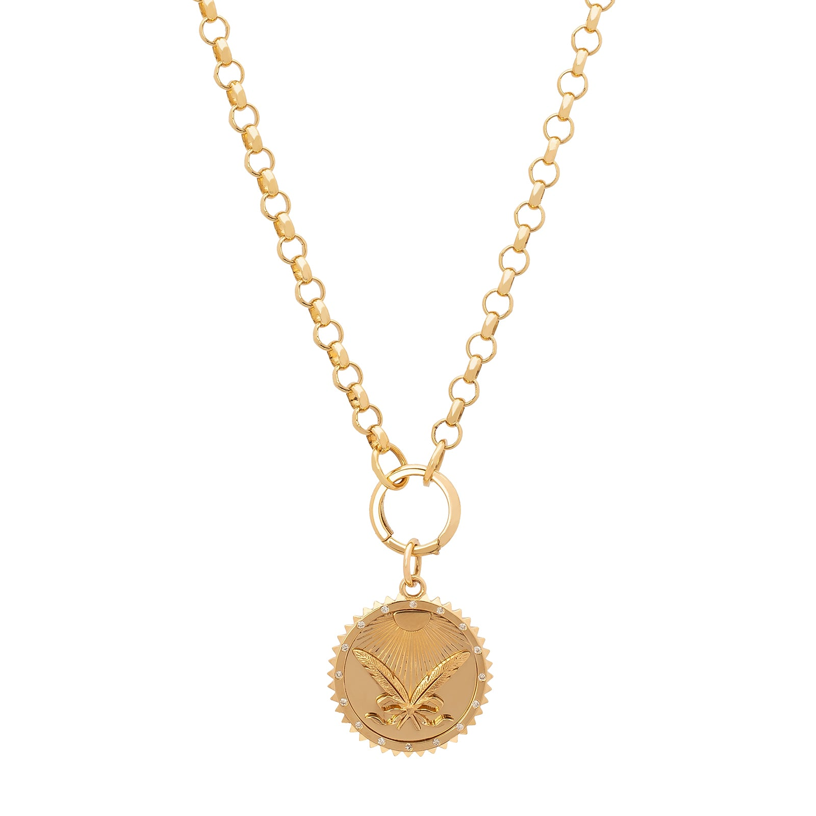 Foundrae All Rise Crossed Feathers Medallion - Charms & Pendants - Broken English Jewelry