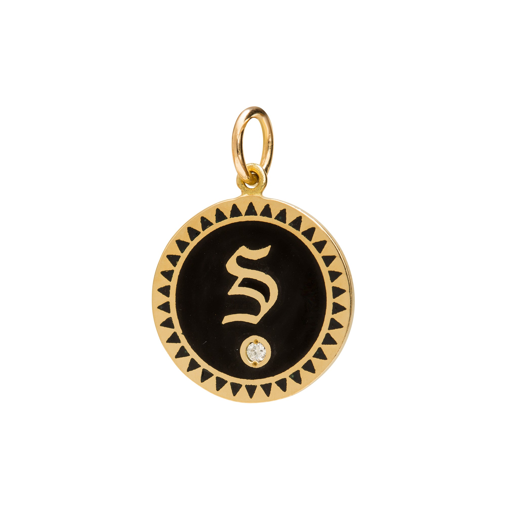 Black Enamel Initial Medallion by Foundrae for Broken English Jewelry