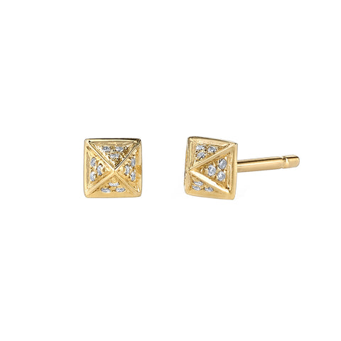 Small Pave Diamond Pyramid Stud - Borgioni - Earrings | Broken English Jewelry