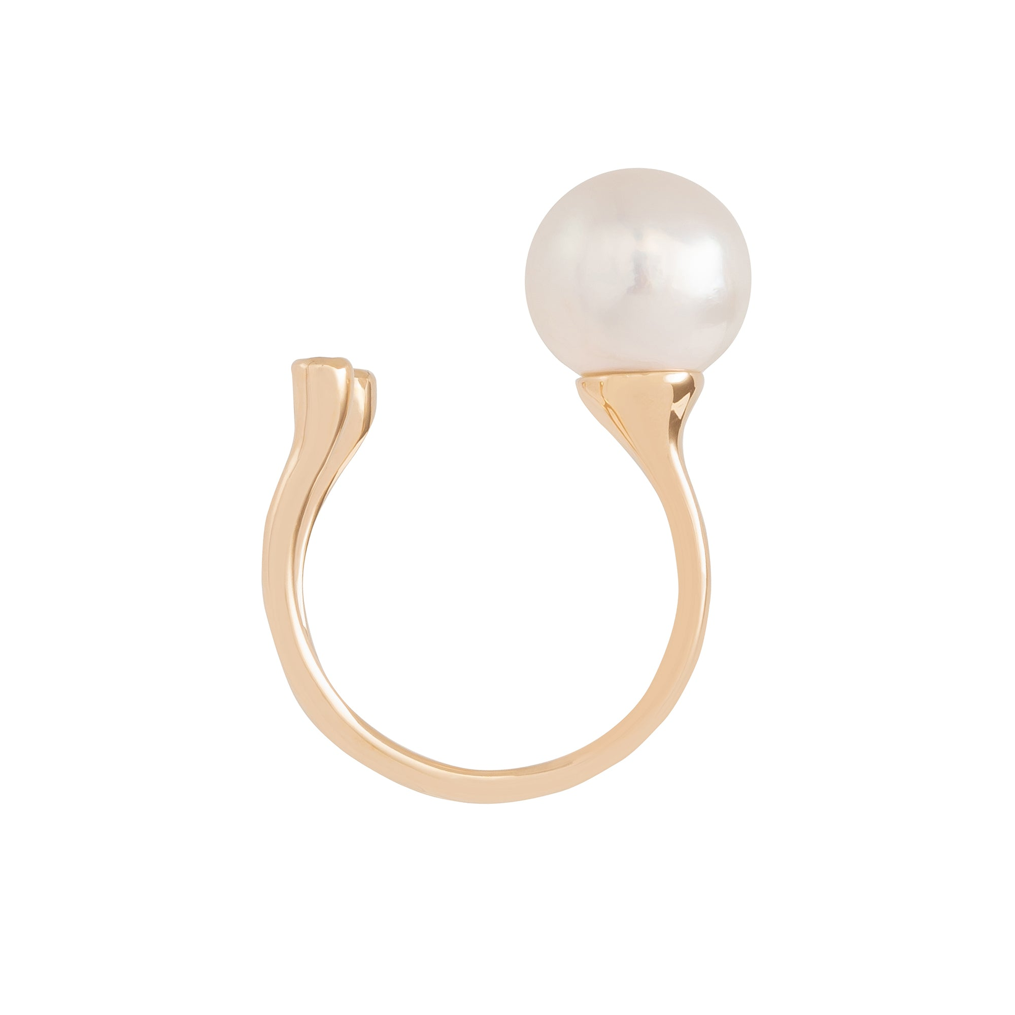 Hirotaka Cuff Ring - Diamond & South Sea Pearl - Rings - Broken English Jewelry
