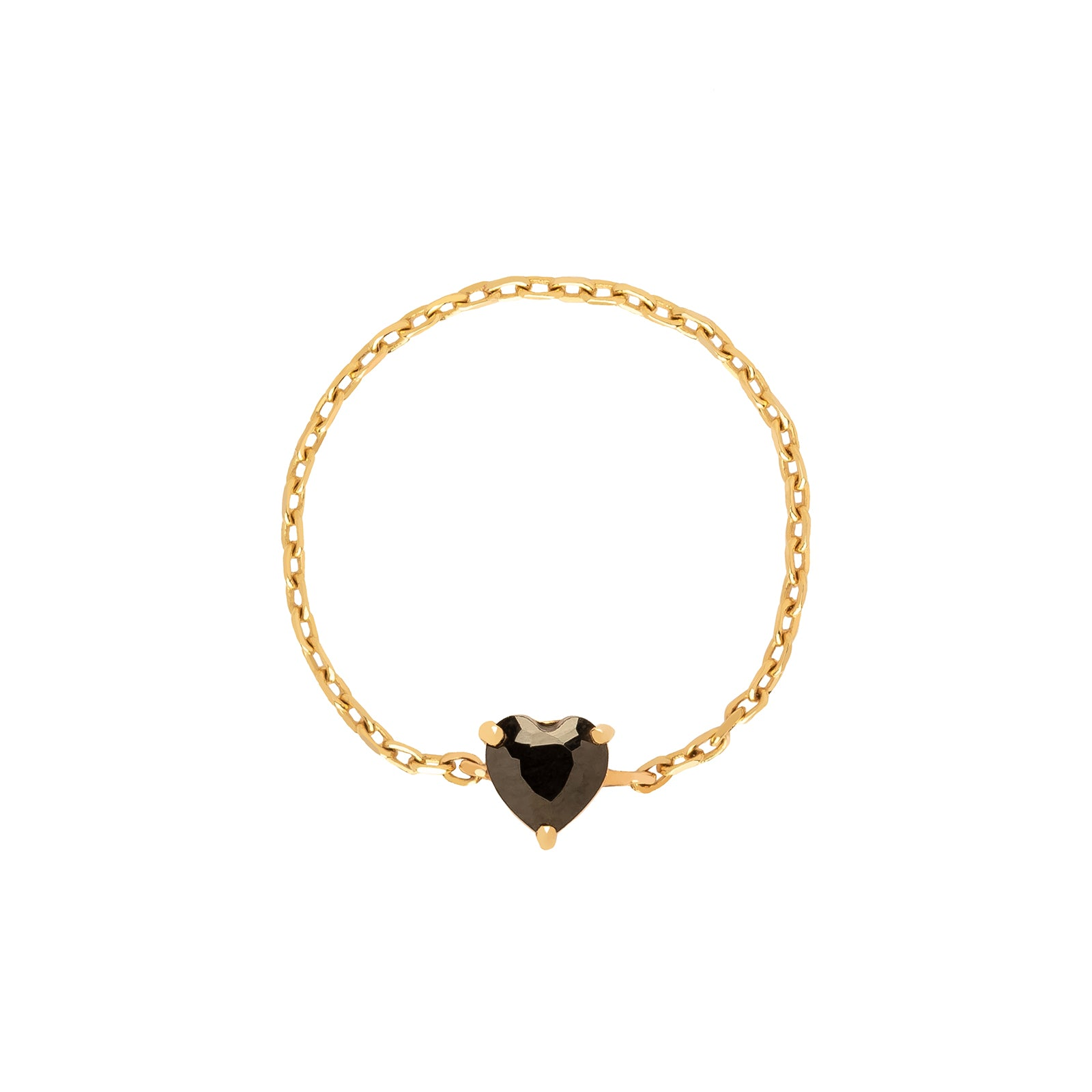 YI Collection Heart Chain Ring - Onyx - Rings - Broken English Jewelry