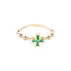Rosa de la Cruz Baroque Boules Cross Ring - Emerald - Rings - Broken English Jewelry