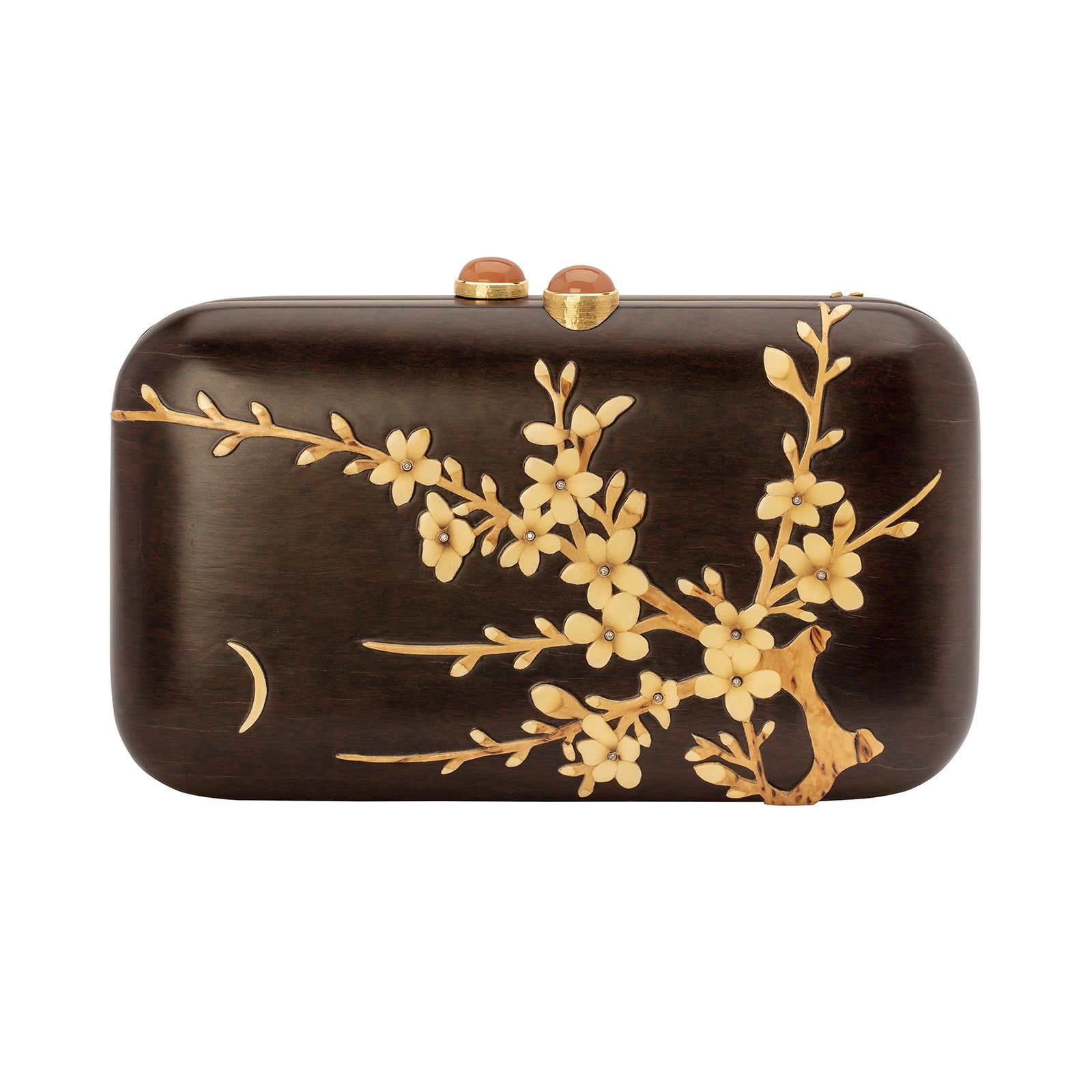 Silvia Furmanovich Marquetry Dark Brown Raised Floral Clutch - Accessories - Broken English Jewelry