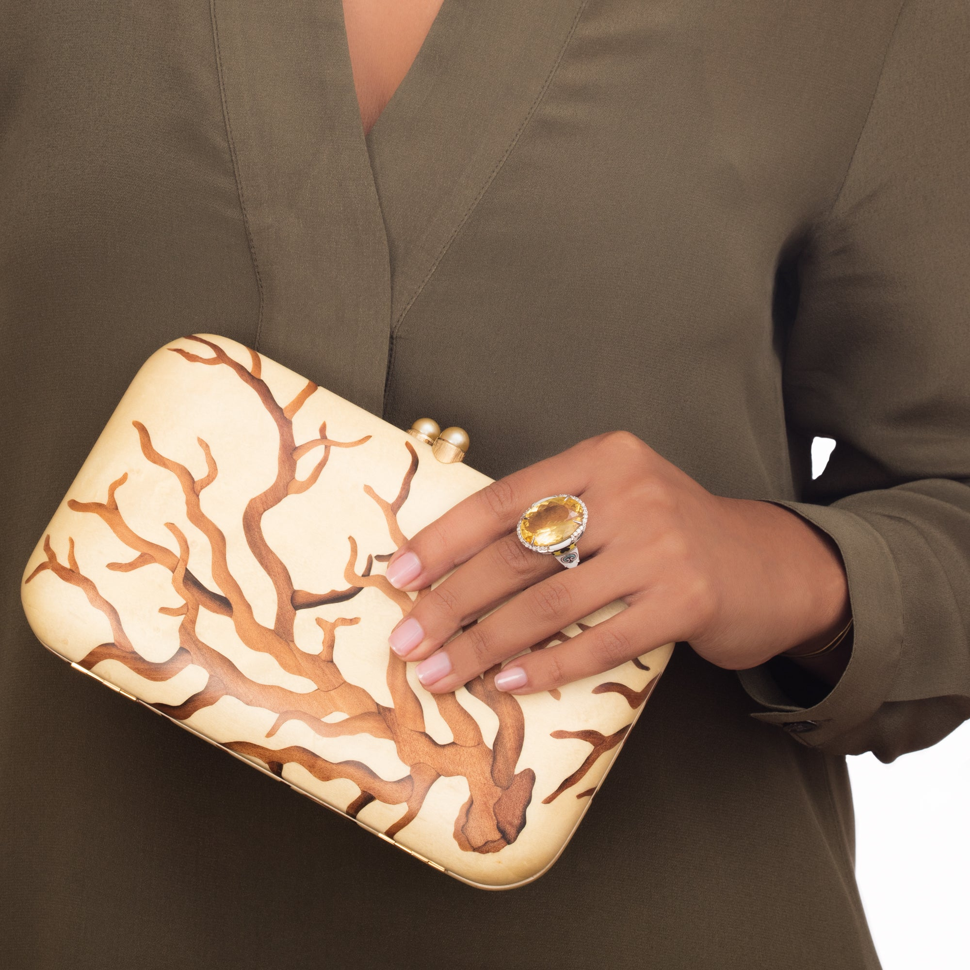 Marquetry Brown Clutch - Silvia Furmanovich - Accessories | Broken English Jewelry