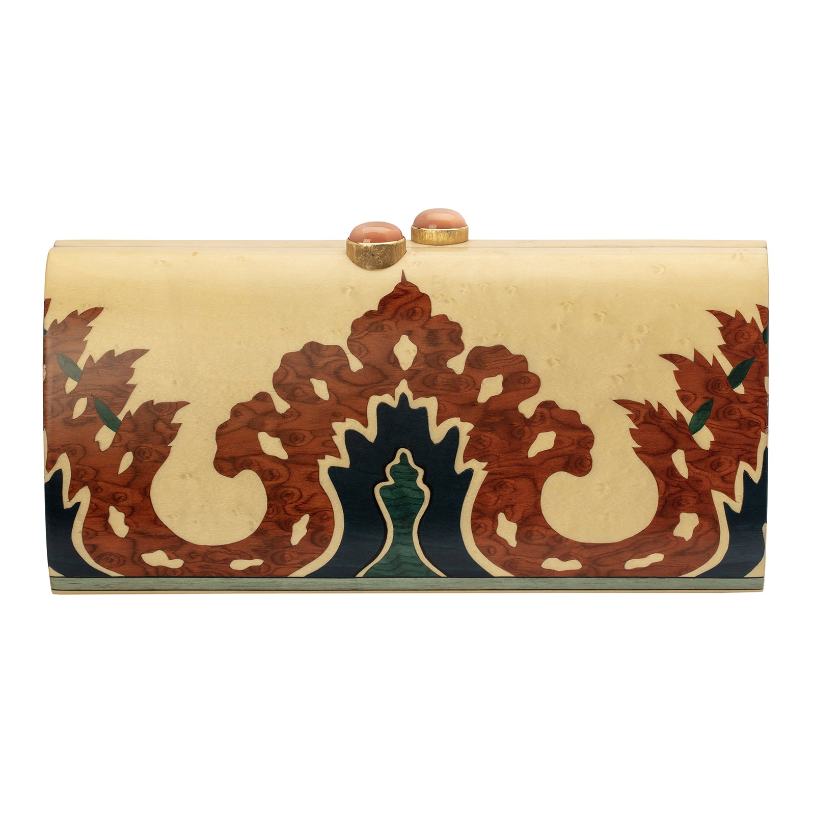 Silvia Furmanovich Marquetry Brown & Blue Patterned Clutch - Accessories - Broken English Jewelry