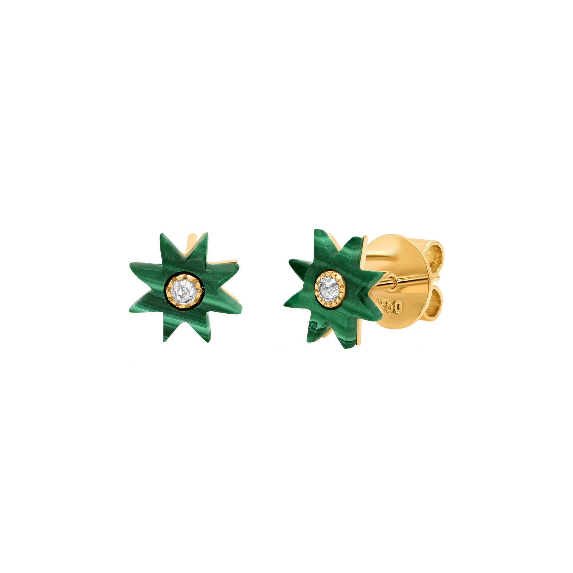 Malachite Star Studs by Colette for Broken English Jewelry