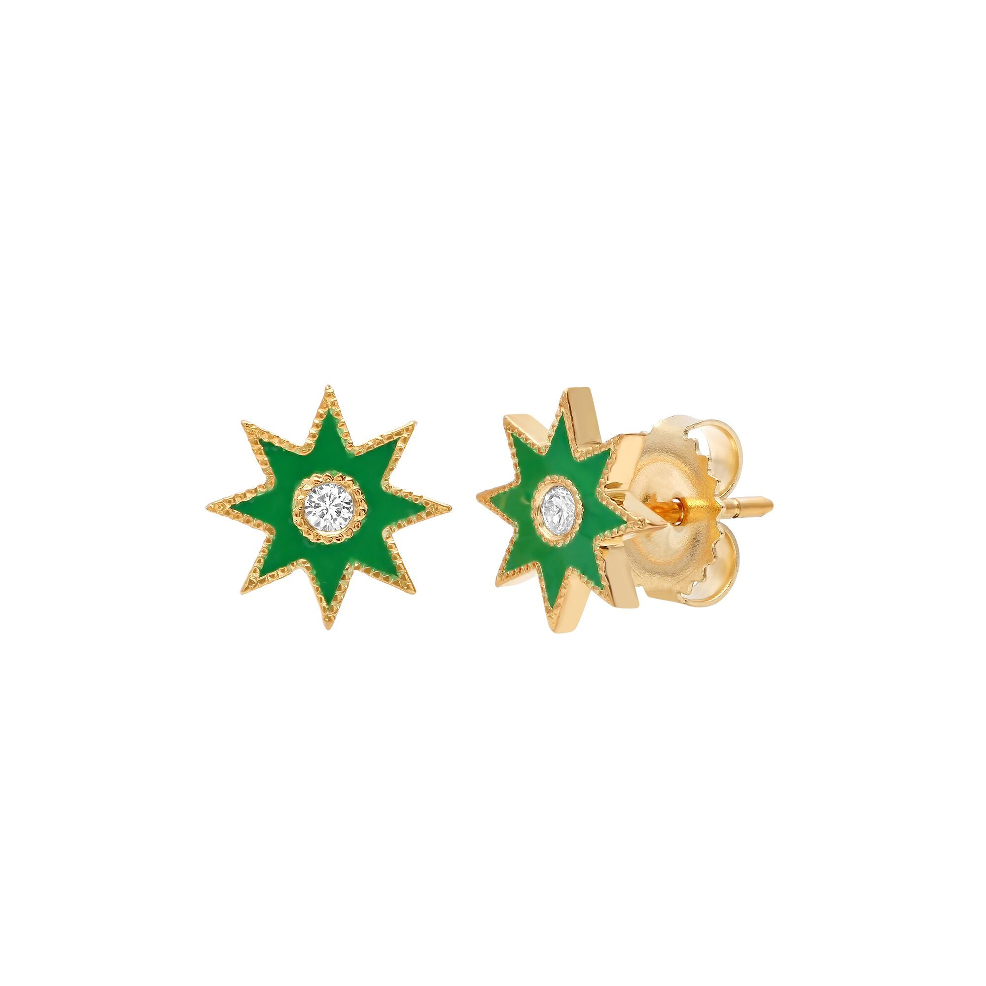 Green Star Studs by Colette for Broken English Jewelry