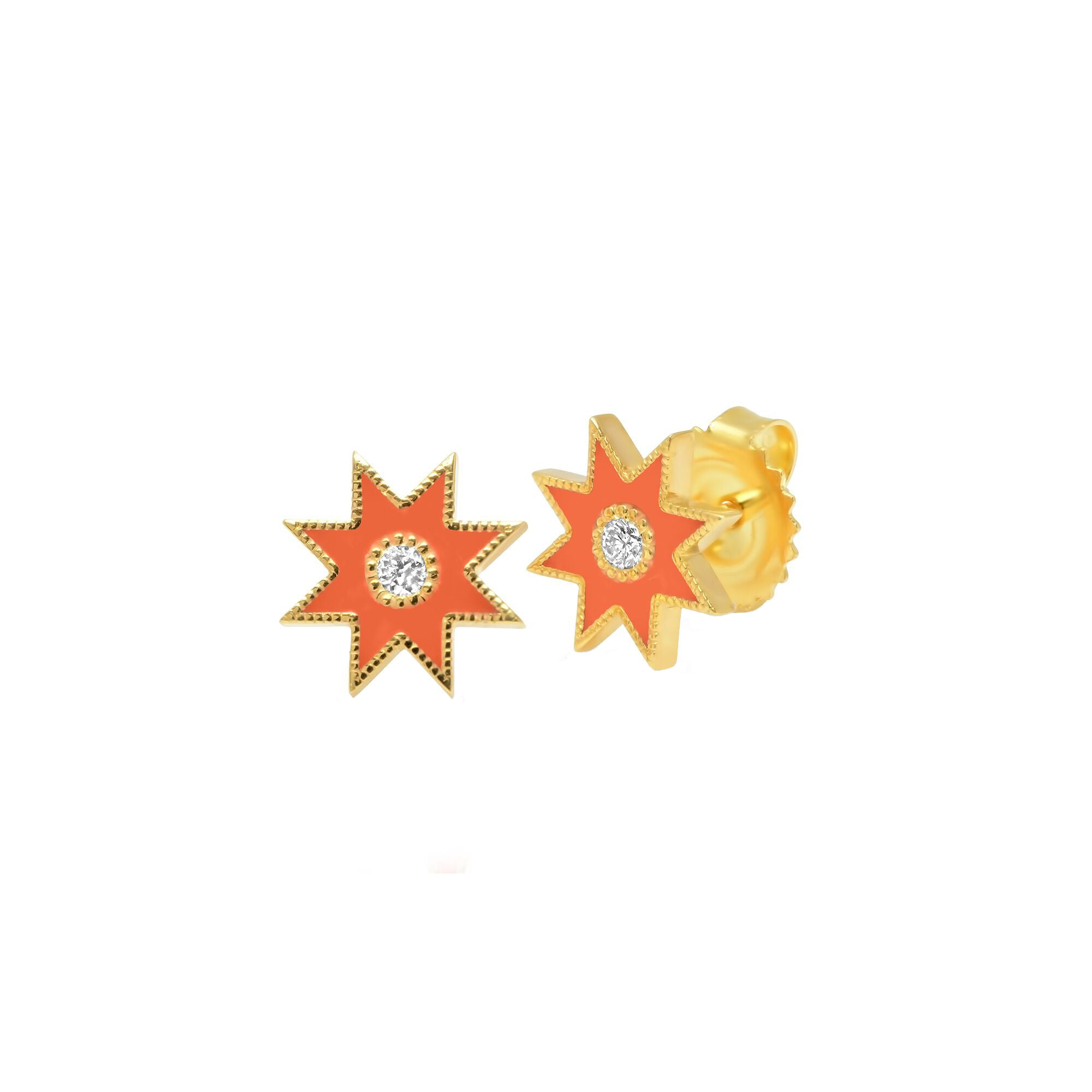 Orange Star Studs by Colette for Broken English Jewelry