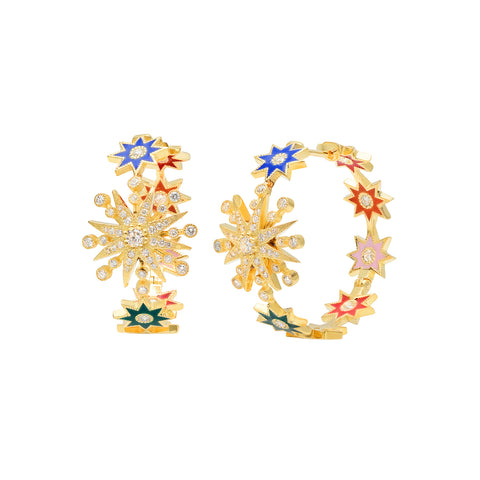 Multicolor Star Hoops by Colette for Broken English Jewelry