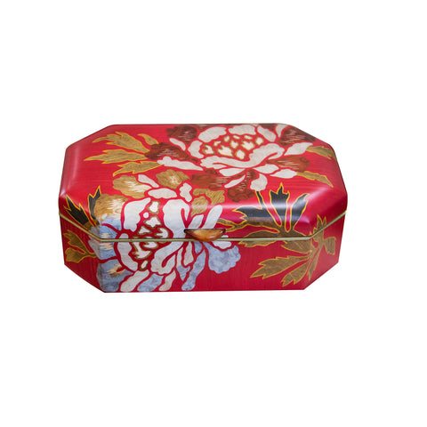 Red Flower Marquetry Wood Box - Home & Decor - Broken English Jewelry