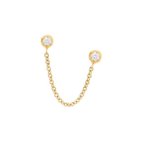 Gold White Diamond Rosebud Ear Chain by Carbon & Hyde for Broken English Jewelry