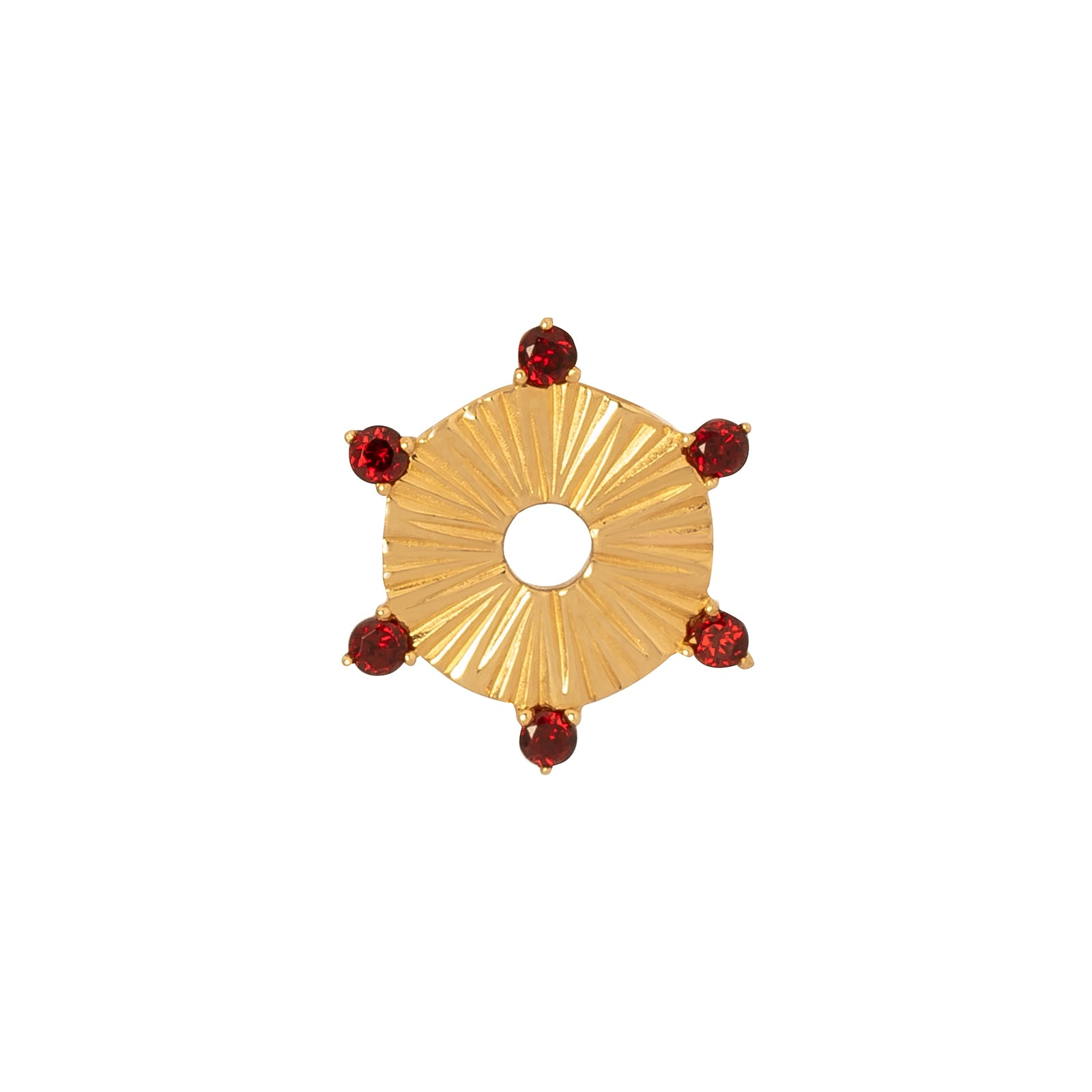Foundrae Small Element Disk - Garnet - Charms & Pendants - Broken English Jewelry