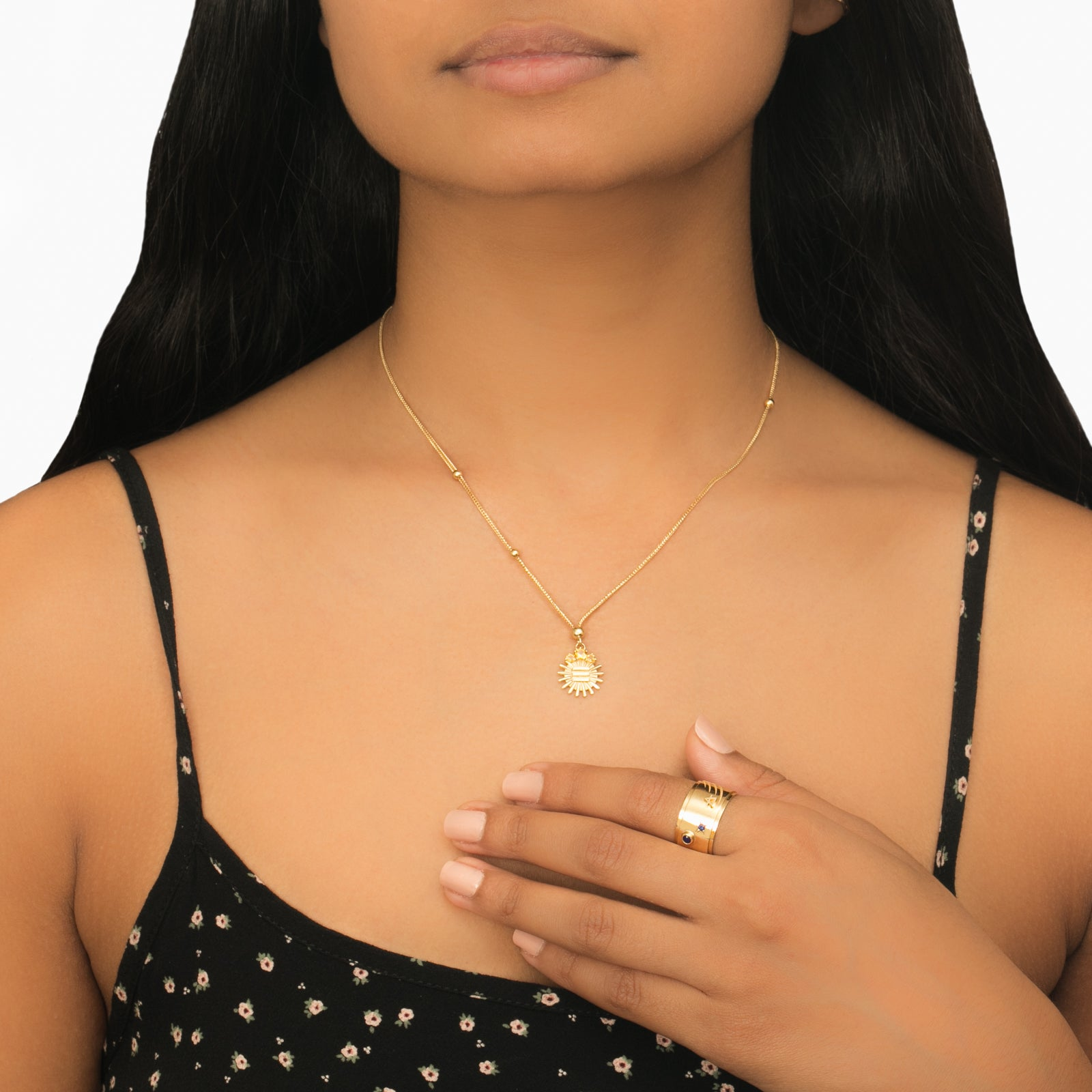Citrine Dotted Metal Choker - Foundrae - Necklaces | Broken English Jewelry