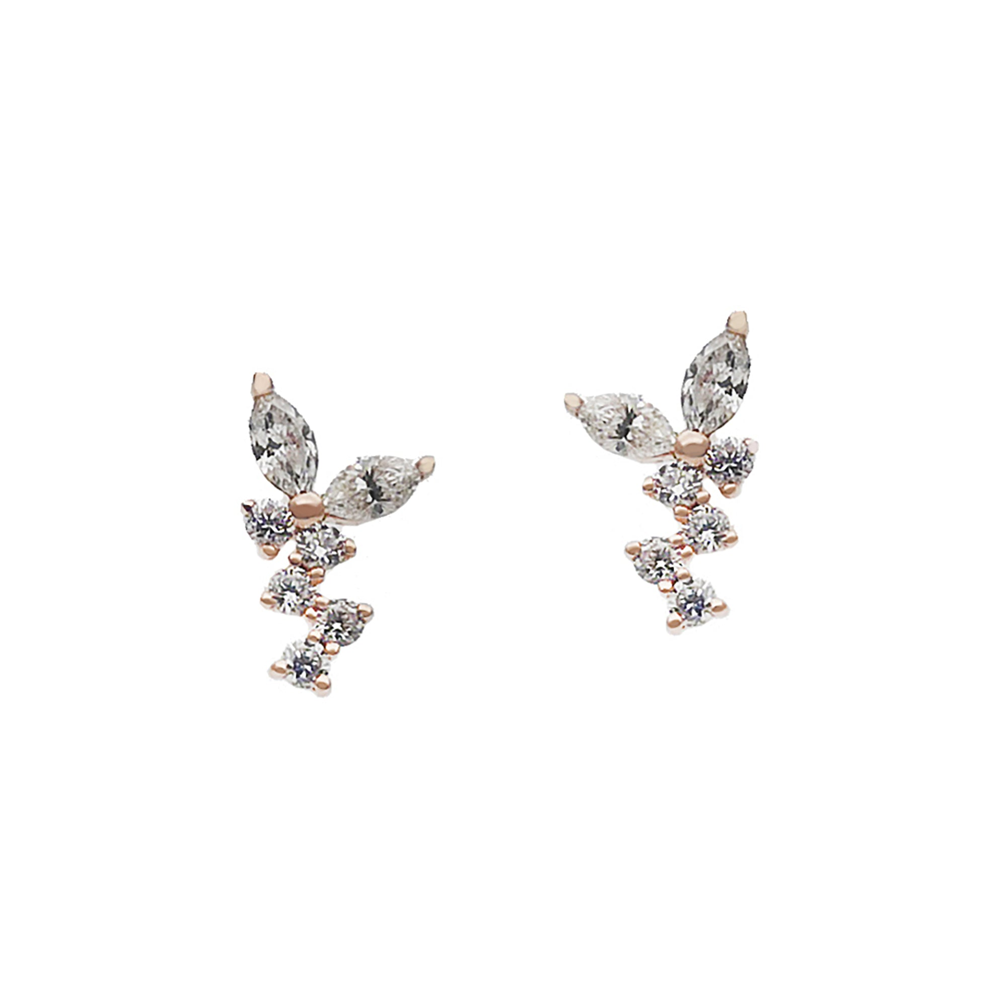 Rosa de la Cruz Marquise Diamond Cluster Studs - Earrings - Broken English Jewelry