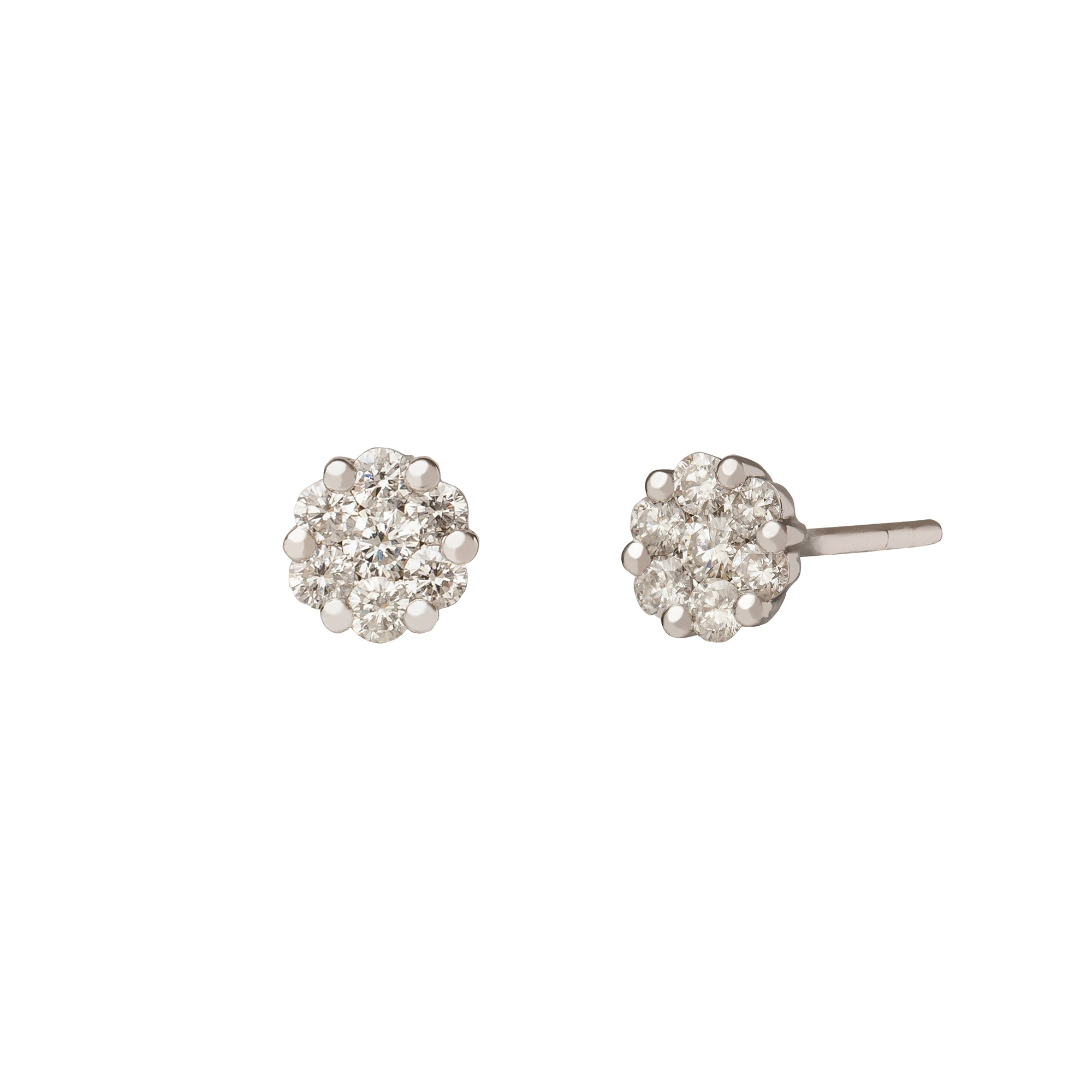 Small Cluster Diamond Stud Earring - Rosa de la Cruz - Earrings | Broken English Jewelry
