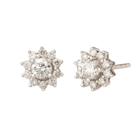 Small Flower Cluster Diamond Stud Earring - Rosa de la Cruz - Earrings | Broken English Jewelry