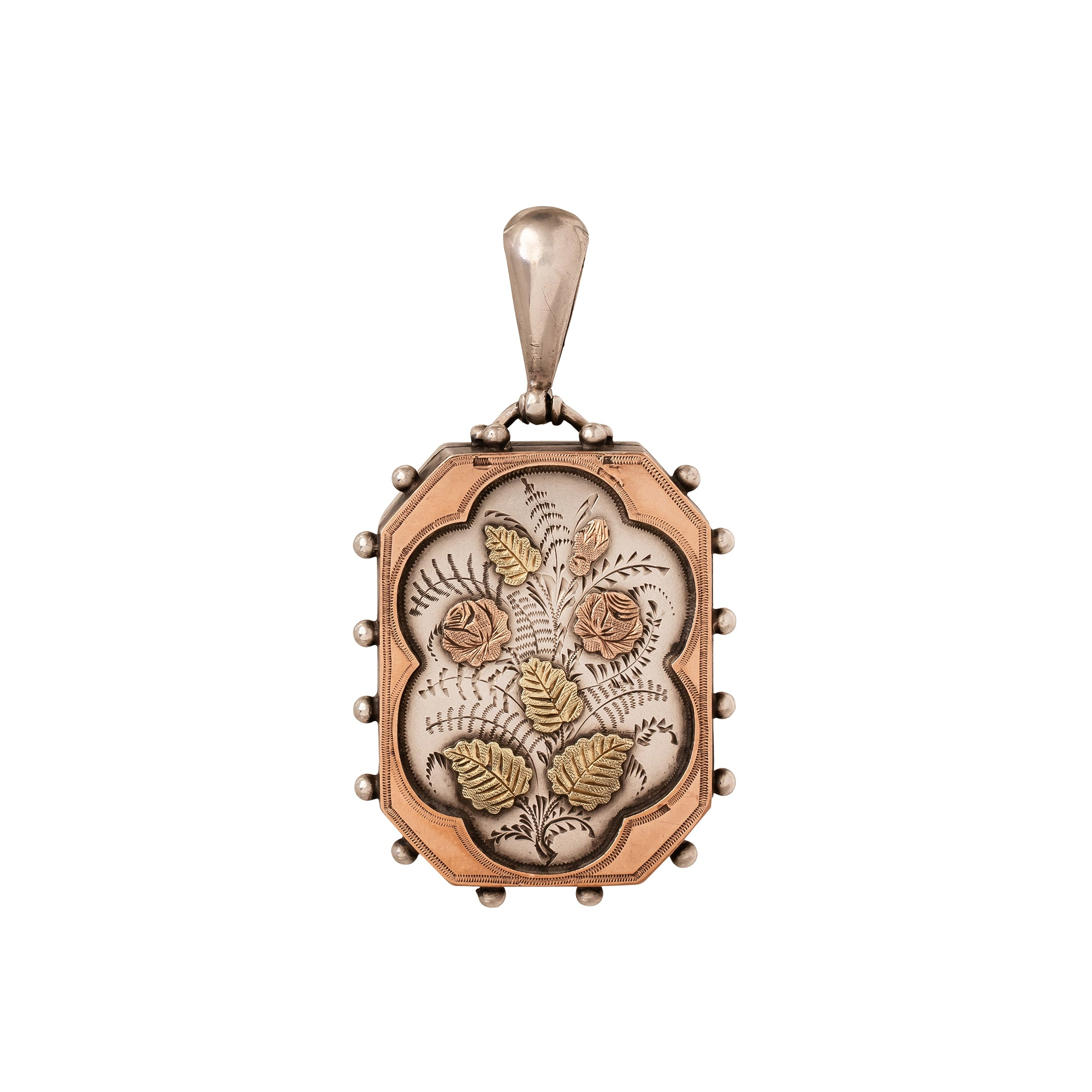 Antique & Vintage Jewelry English Silver and Rose Gold Flower Motif Locket - Charms & Pendants - Broken English Jewelry