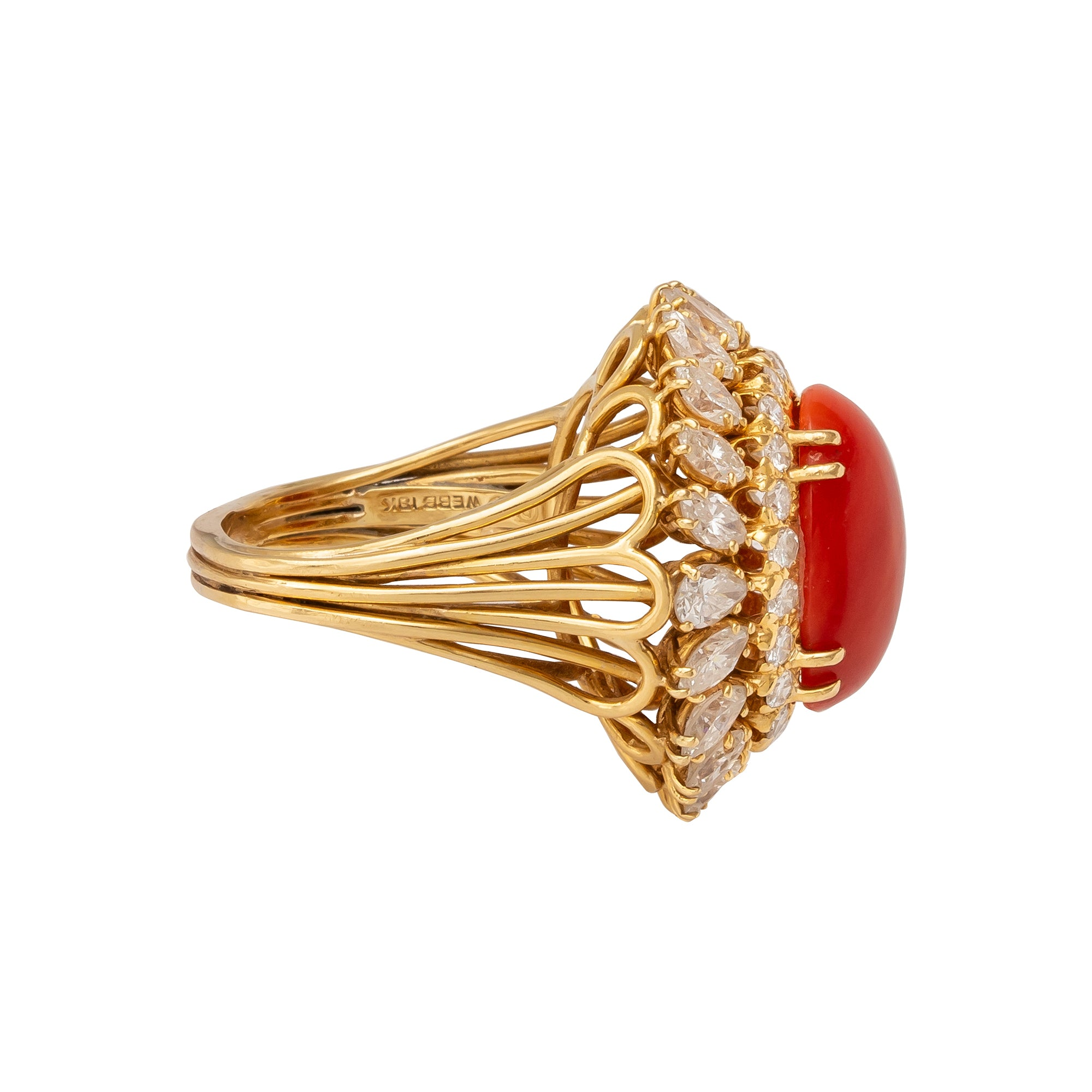 Antique & Vintage Jewelry Vintage Coral & Diamond Ring - David Webb - Rings - Broken English Jewelry