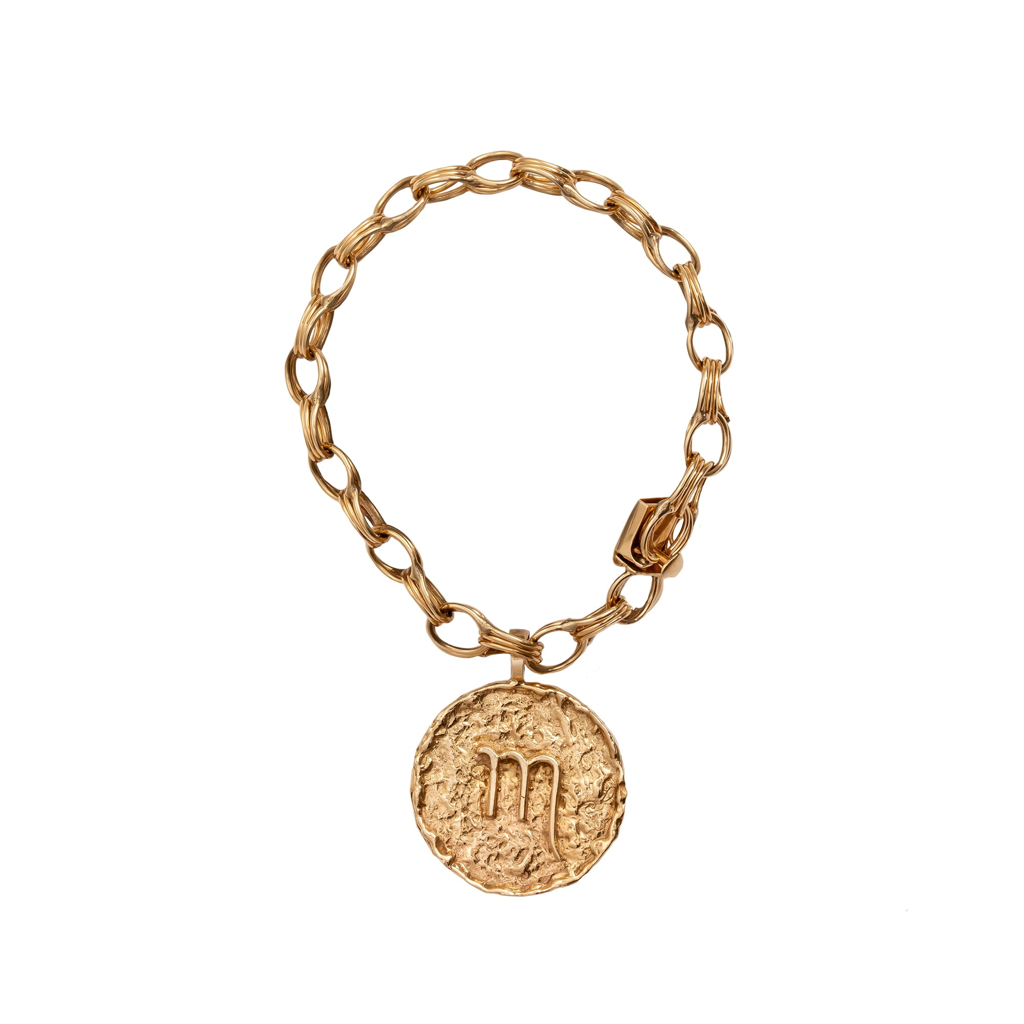 Gold Scorpio Medallion Bracelet - Antique & Vintage - Bracelets | Broken English Jewelry