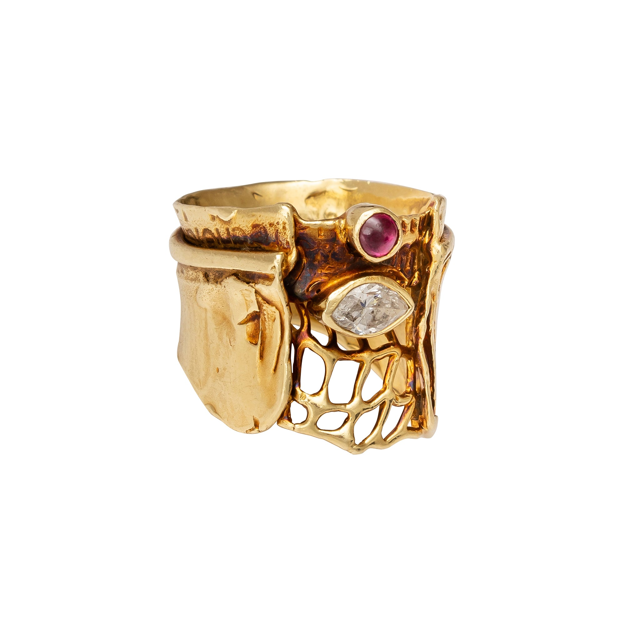 Antique & Vintage Jewelry Vintage Ruby Corset Ring - Rings - Broken English Jewelry